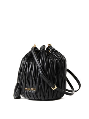 Miu Miu: Bucket bags online - Black matelassé leather bucket bag