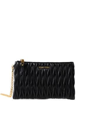 Miu Miu: Cases & Covers - Black matelassé leather pouch