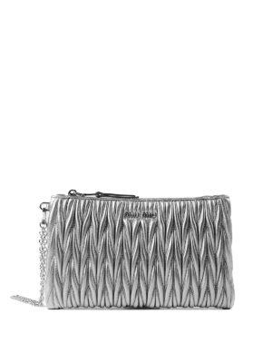 Miu Miu: Cases & Covers - Silver matelassé leather pouch
