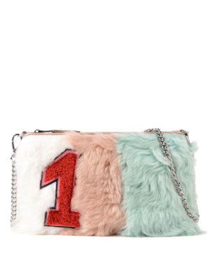 Miu Miu: clutches - Colour block shearling clutch