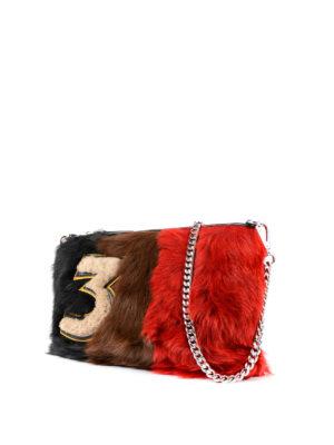 Miu Miu: clutches online - Colour block shearling clutch