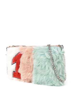 Miu Miu: clutches online - Colour block shearling clutch