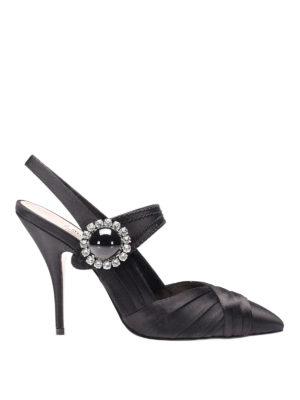 Miu Miu: court shoes - Embellished satin slingback pumps
