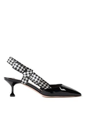 Miu Miu: court shoes - Gingham strap patent slingback pump