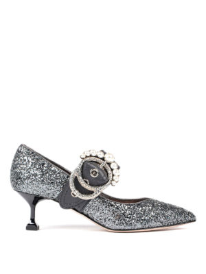 Miu Miu: court shoes - Jewel buckled glittered pumps
