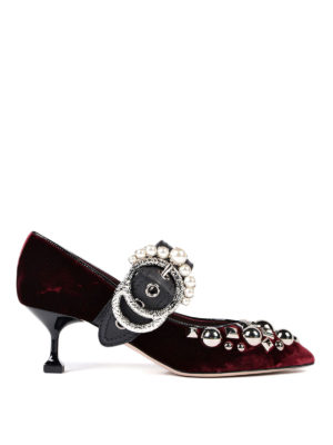 Miu Miu: court shoes - Jewel buckled velvet pumps