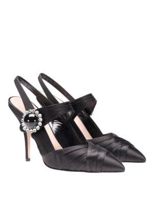 Miu Miu: court shoes online - Embellished satin slingback pumps