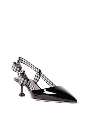 Miu Miu: court shoes online - Gingham strap patent slingback pump