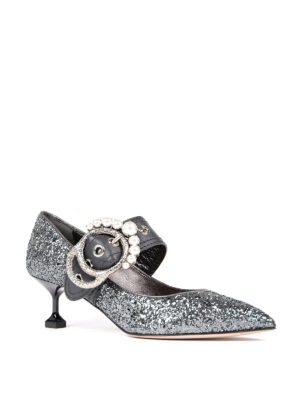 Miu Miu: court shoes online - Jewel buckled glittered pumps