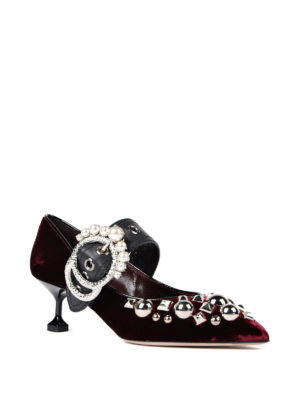 Miu Miu: court shoes online - Jewel buckled velvet pumps
