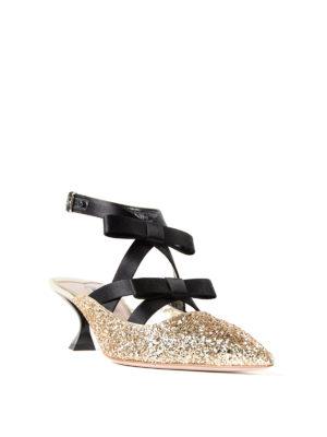 Miu Miu: court shoes online - Satin bows glitter slingback pumps