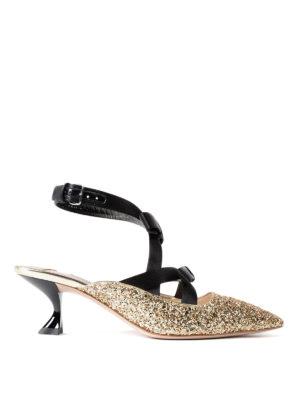 Miu Miu: court shoes - Satin bows glitter slingback pumps