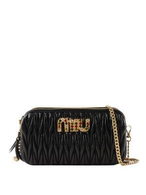 MIU MIU  borse a tracolla - Tracollina gioiello in nappa matelassé nera f931edf1b7599