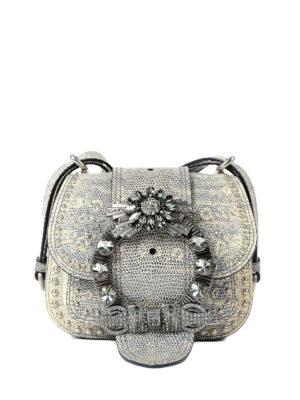 Miu Miu: cross body bags - Dahlia jeweled buckle small bag