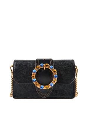 Miu Miu: cross body bags - Jewel buckled leather crossbody