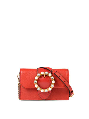 Miu Miu: cross body bags - Jewel buckled leather crossbody