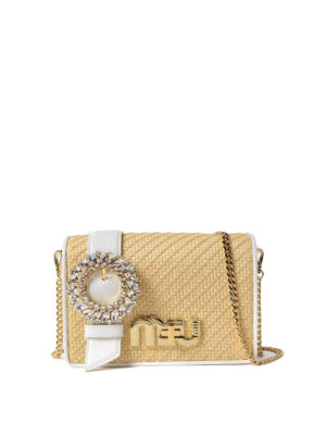 Miu Miu: cross body bags - Leather and straw jewel crossbody