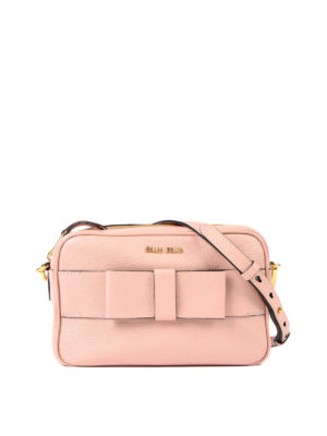Miu Miu: cross body bags - Leather crossbody with bow