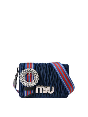 Miu Miu: cross body bags - Matelassé denim jewel crossbody