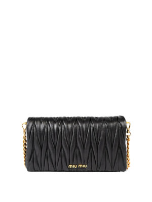 Miu Miu: cross body bags - Matelassé leather crossbody