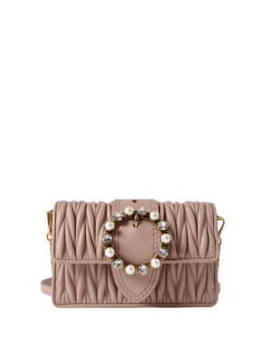 Miu Miu: cross body bags - Matelassé leather jewel crossbody