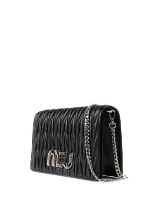 Miu Miu: cross body bags online - Black matelassé leather crossbody