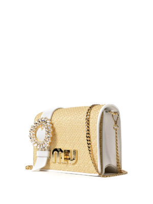 Miu Miu: cross body bags online - Leather and straw jewel crossbody