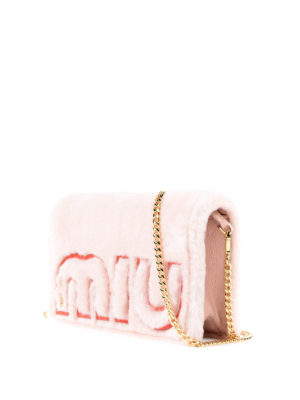 Miu Miu: cross body bags online - Logo shearling crossbody