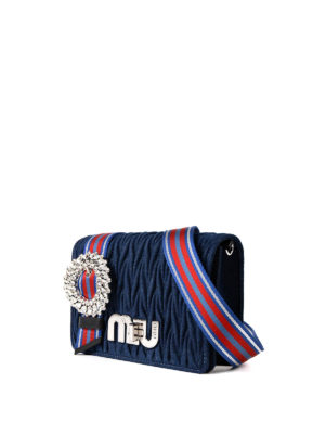 Miu Miu: cross body bags online - Matelassé denim jewel crossbody