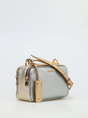 Miu Miu: cross body bags online - Metallic leather cross body bag