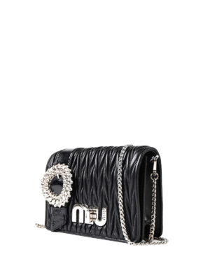 Miu Miu: cross body bags online - Strass detail quilted leather bag