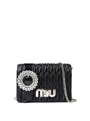 Miu Miu: cross body bags - Strass detail quilted leather bag