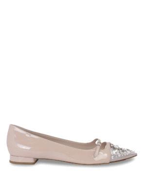 Miu Miu: flat shoes - Crystal embellished flat shoes
