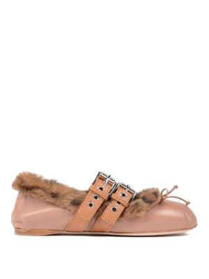 Miu Miu: flat shoes - Fur lined nappa flats