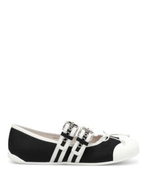 Miu Miu: flat shoes - Gabardine flats with two straps