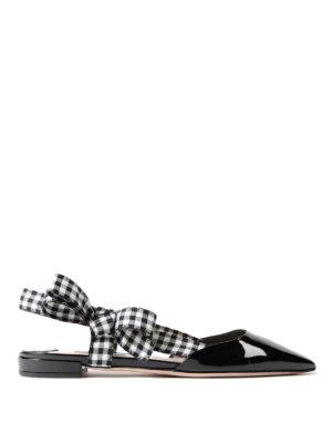 Miu Miu: flat shoes - Gingham strap patent slingback flat