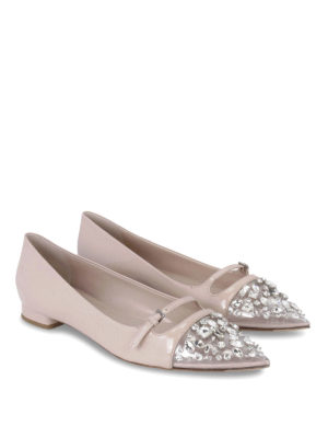 Miu Miu: flat shoes online - Crystal embellished flat shoes