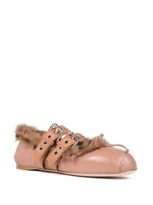 Miu Miu: flat shoes online - Fur lined nappa flats