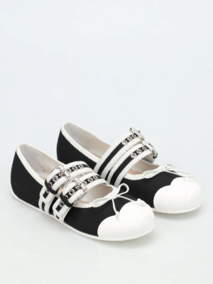 Miu Miu: flat shoes online - Gabardine flats with two straps