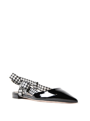 Miu Miu: flat shoes online - Gingham strap patent slingback flat
