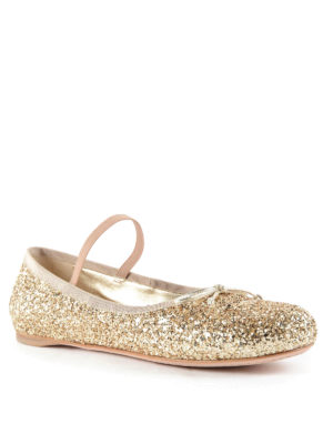 Miu Miu: flat shoes online - Ribbons glittered flats