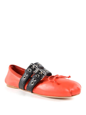 Miu Miu: flat shoes online - Straps and ribbons flat shoes