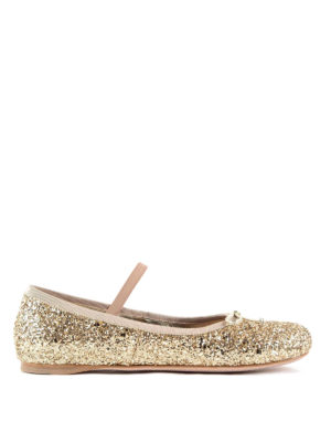 Miu Miu: flat shoes - Ribbons glittered flats