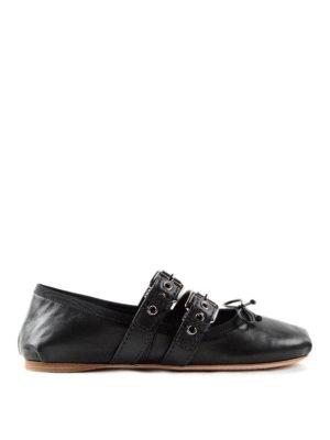 Miu Miu: flat shoes - Straps and ribbons flat shoes
