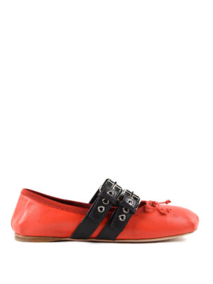 Miu Miu: flat shoes - Straps and ribbons flat shoes