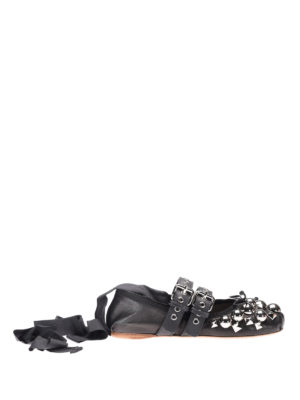 Miu Miu: flat shoes - Studs and ribbons flat shoes