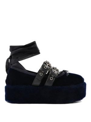 Miu Miu: flat shoes - Velvet platform ballerinas