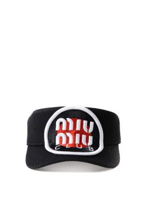 Miu Miu: hats & caps online - Logo patch denim visor