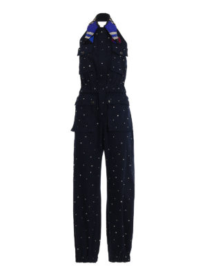 Miu Miu: jumpsuits - Beads collar jewel cotton overall