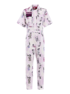 Miu Miu: jumpsuits - Cotton poplin jumpsuit with patches